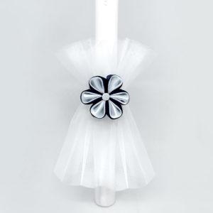 veliki tamno plavi satenski cvijet ukras za krštenje