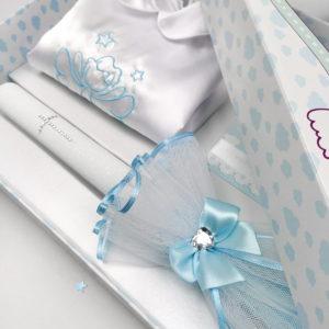 Detalj poklon kutije Moje krštenje plavo