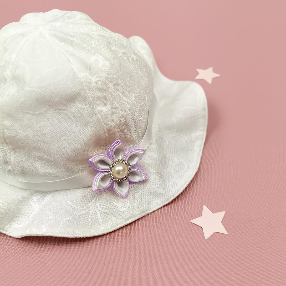 šeširić Morning rose kompletića za krštenje lila