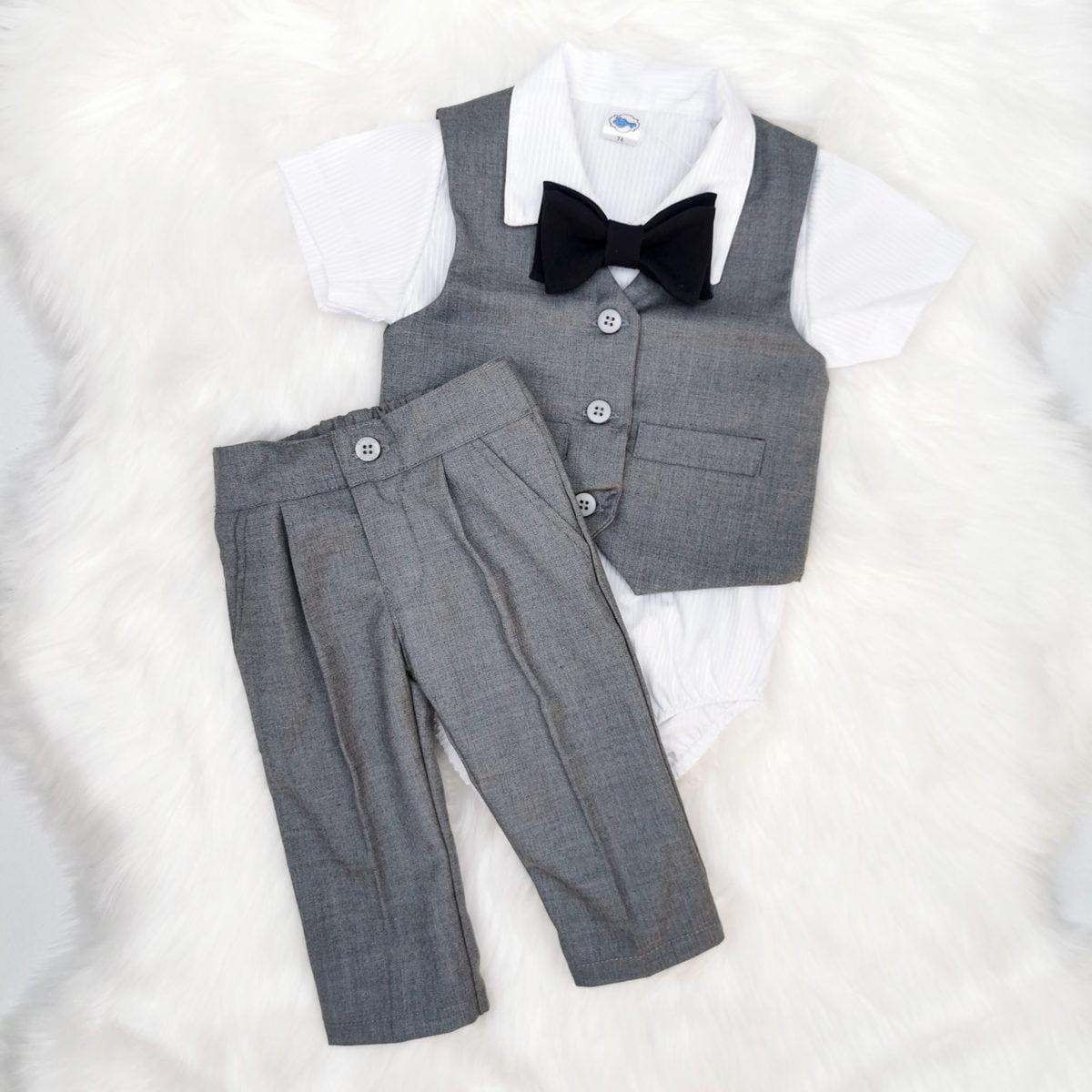 sivo ljetno odijelo za bebe za krštenje