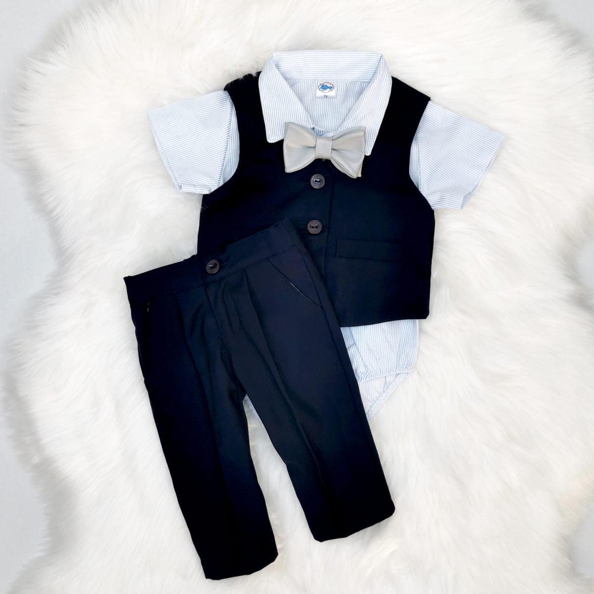 Mr. navy odijelo s prslukom za bebe