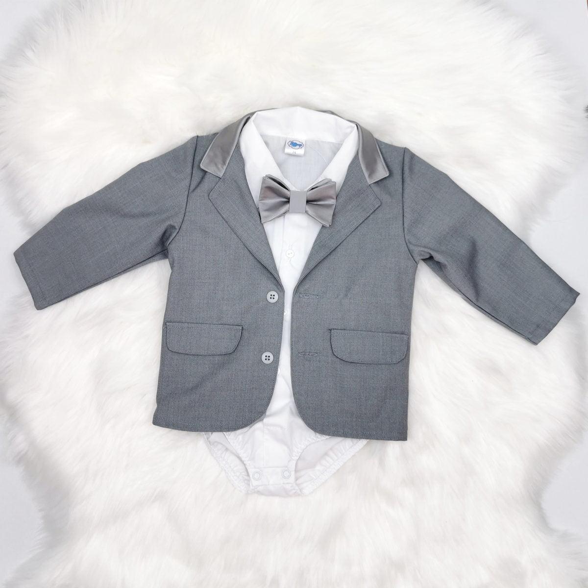 bodi košulja i sako sivo srebrni za krštenje