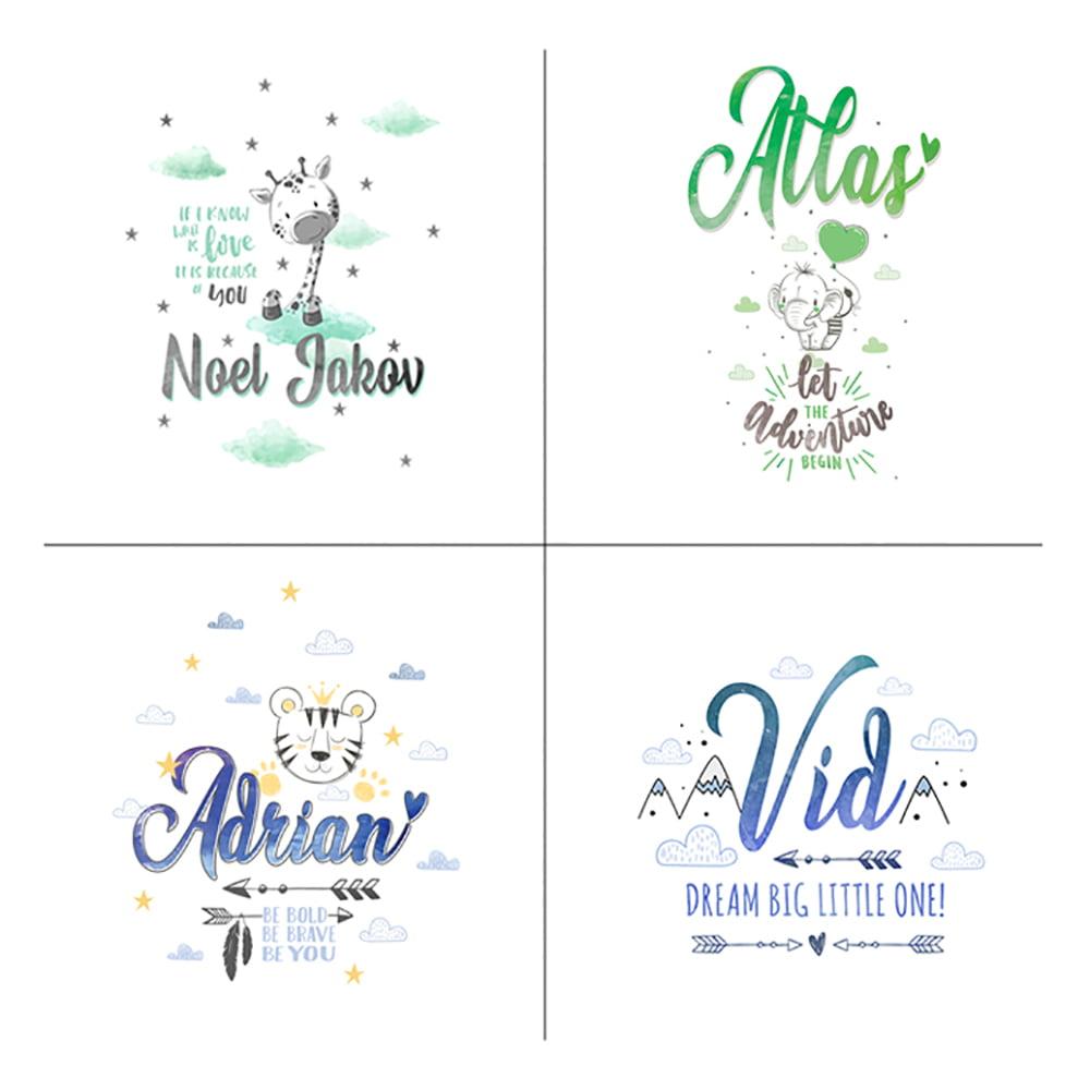 Ilustracije za personaliziranu tetra pelenu s imenom