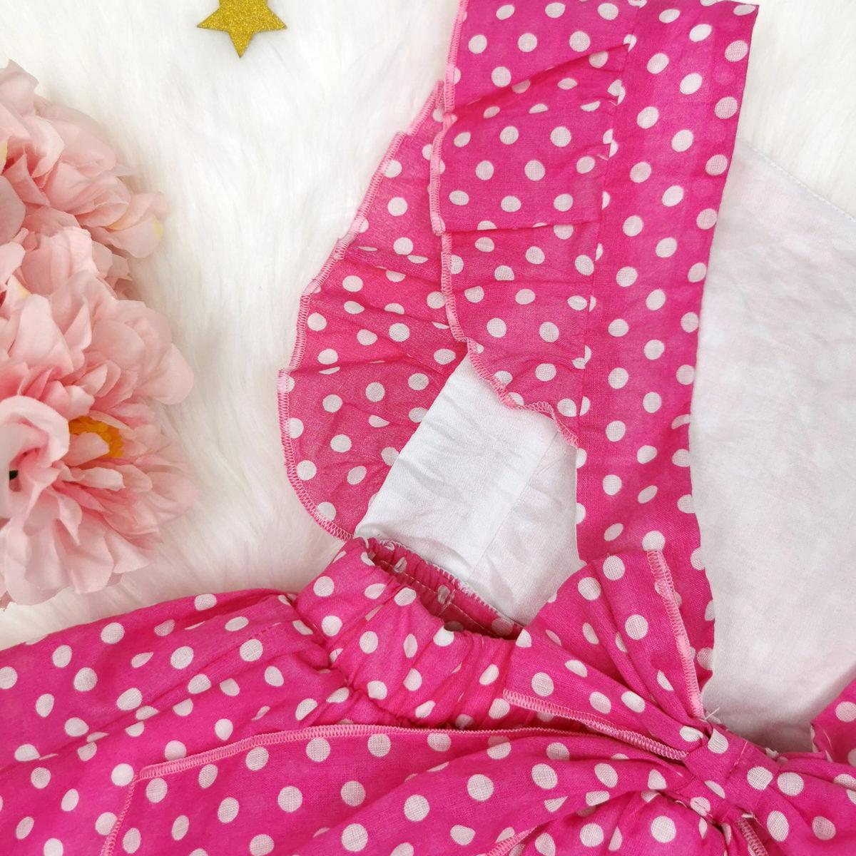 pink polka bodi haljina s otvorenim leđima