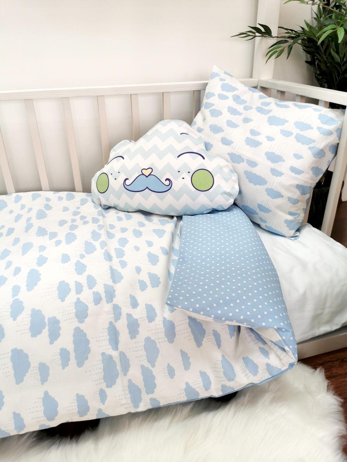 posteljina za djecu s plavim oblacima