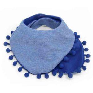 plavi dvoslojni slinček s pom pom trakom
