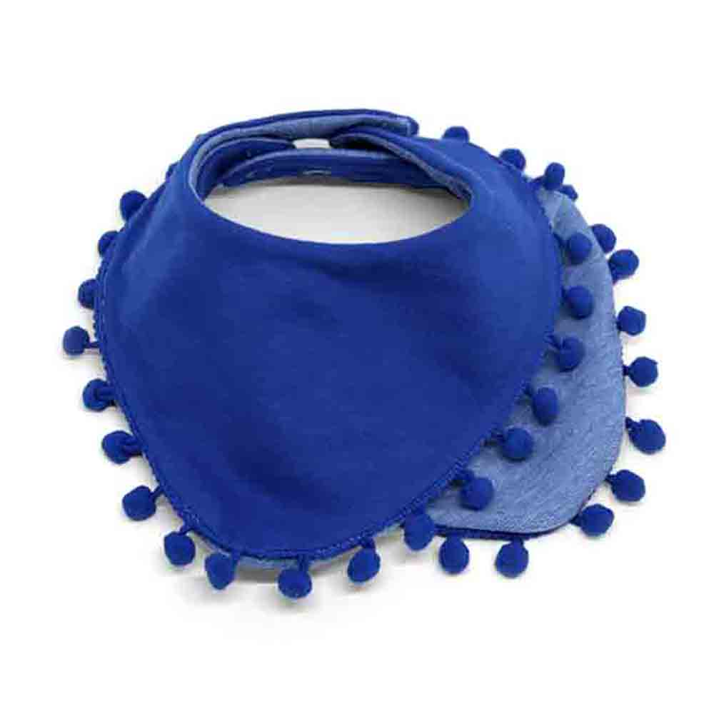 Dvoslojni plavi slinček s pom pom trakom