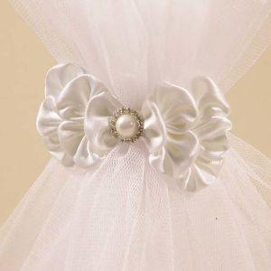 bijela svećana mašna ukras na svijeći Pure white
