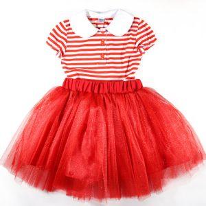 crveni komplet majica i til suknja
