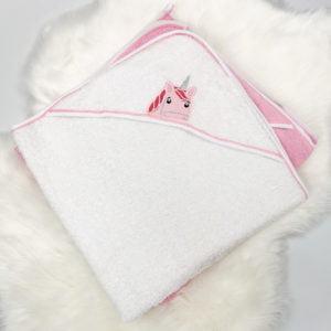 bijeli ručnik ogrtač s jednorogom za bebe