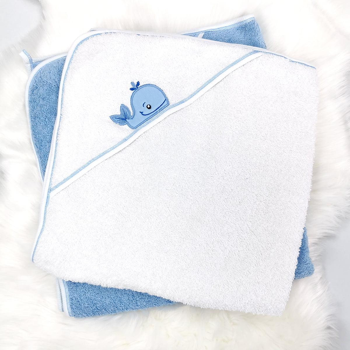 plavo i bijeli ručnik ogrtač za bebe