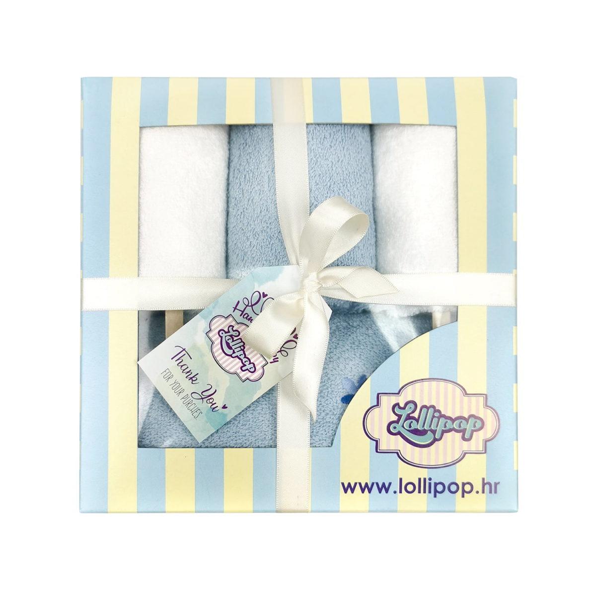plavi poklon set za darivanje beba
