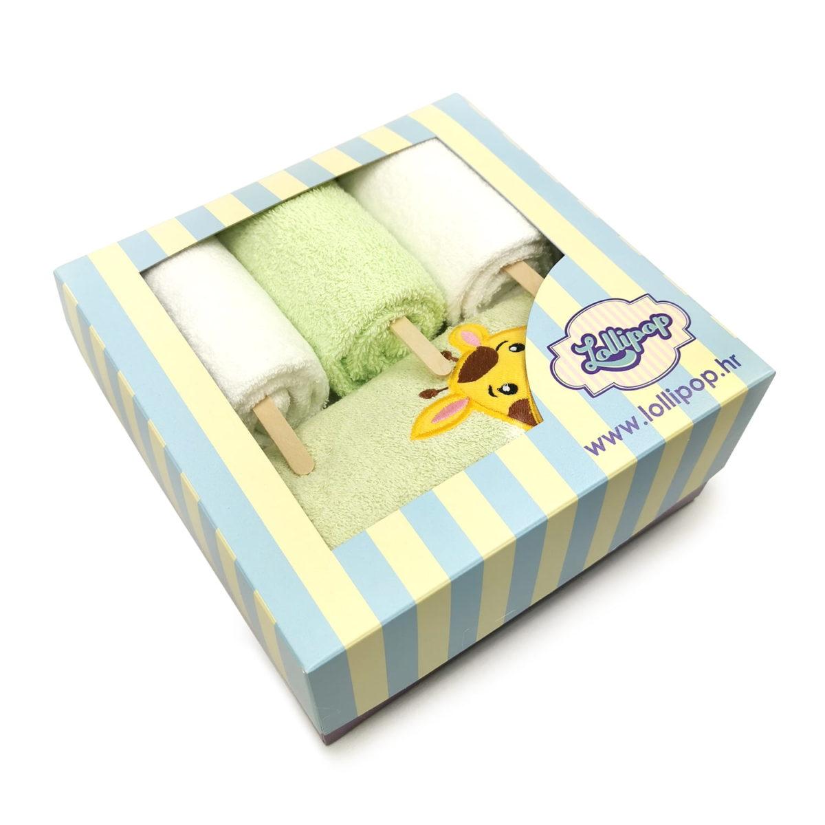 zeleni poklon set s ručnicima za bebe
