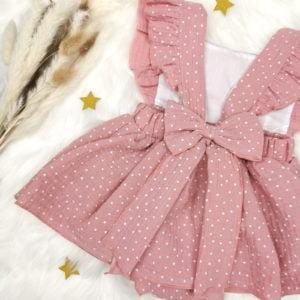 roza bodi haljina s točkicama s otvorenim leđima