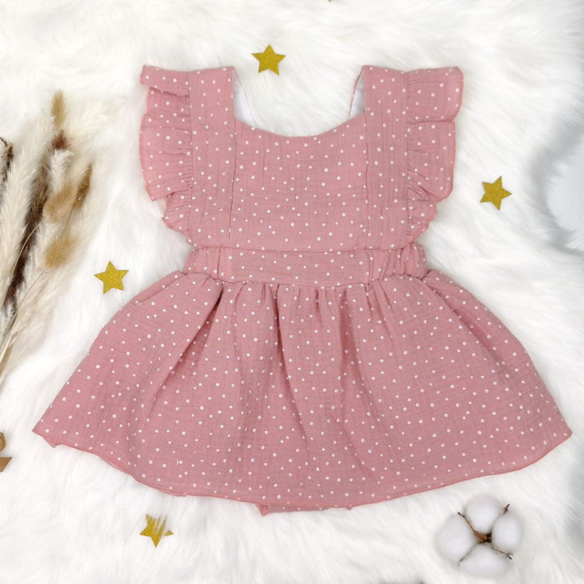 roza točkasta bodi haljina za bebe