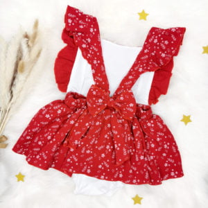 crvena shabby chiv bodi haljina za bebe