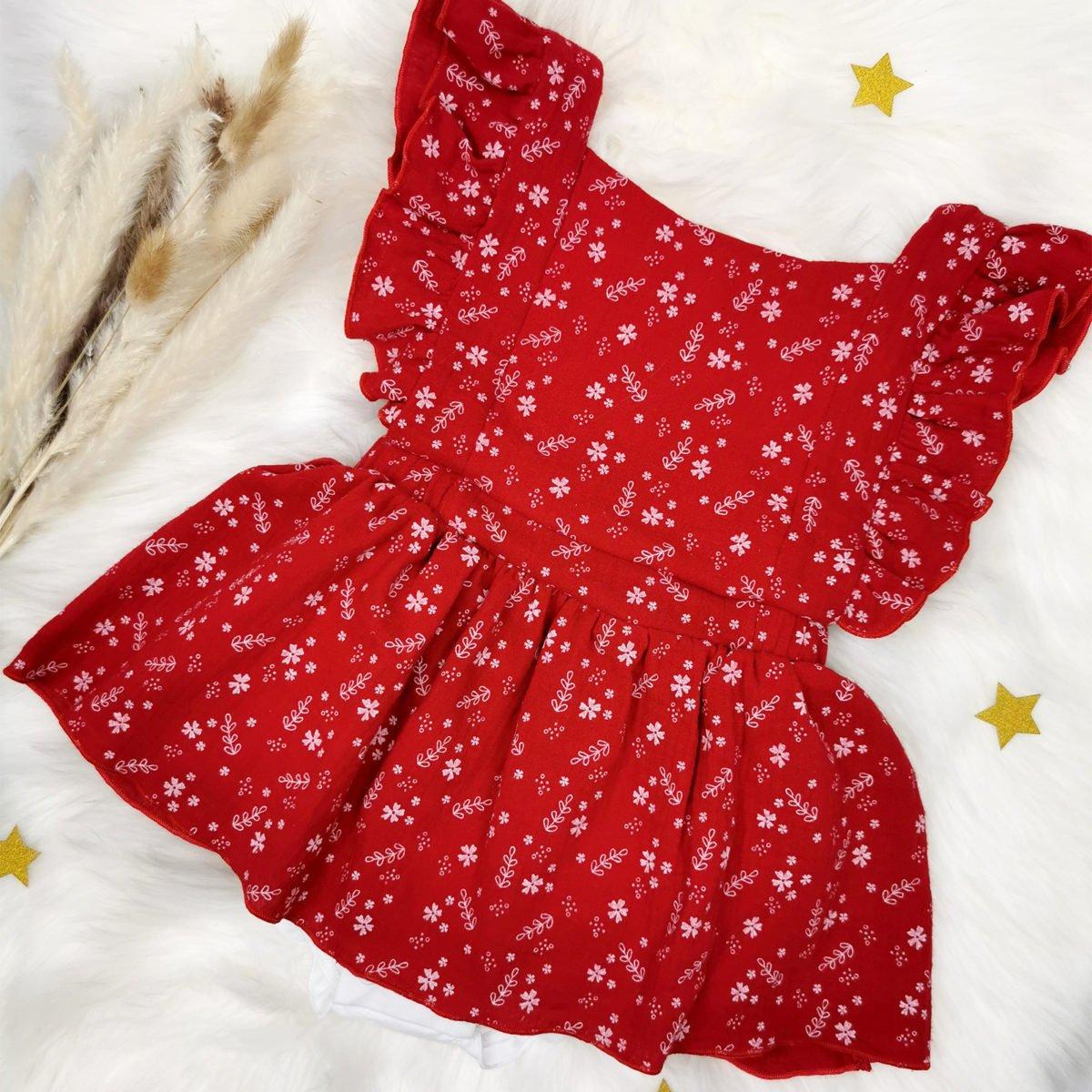 crvena shabby chic bodi haljina