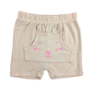 kratke bež hlače s rozim printom za djevojčice