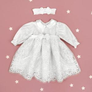 Snow white lace haljina s trakicom za krštenje