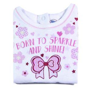 born to sparkle majica za bebe detalj