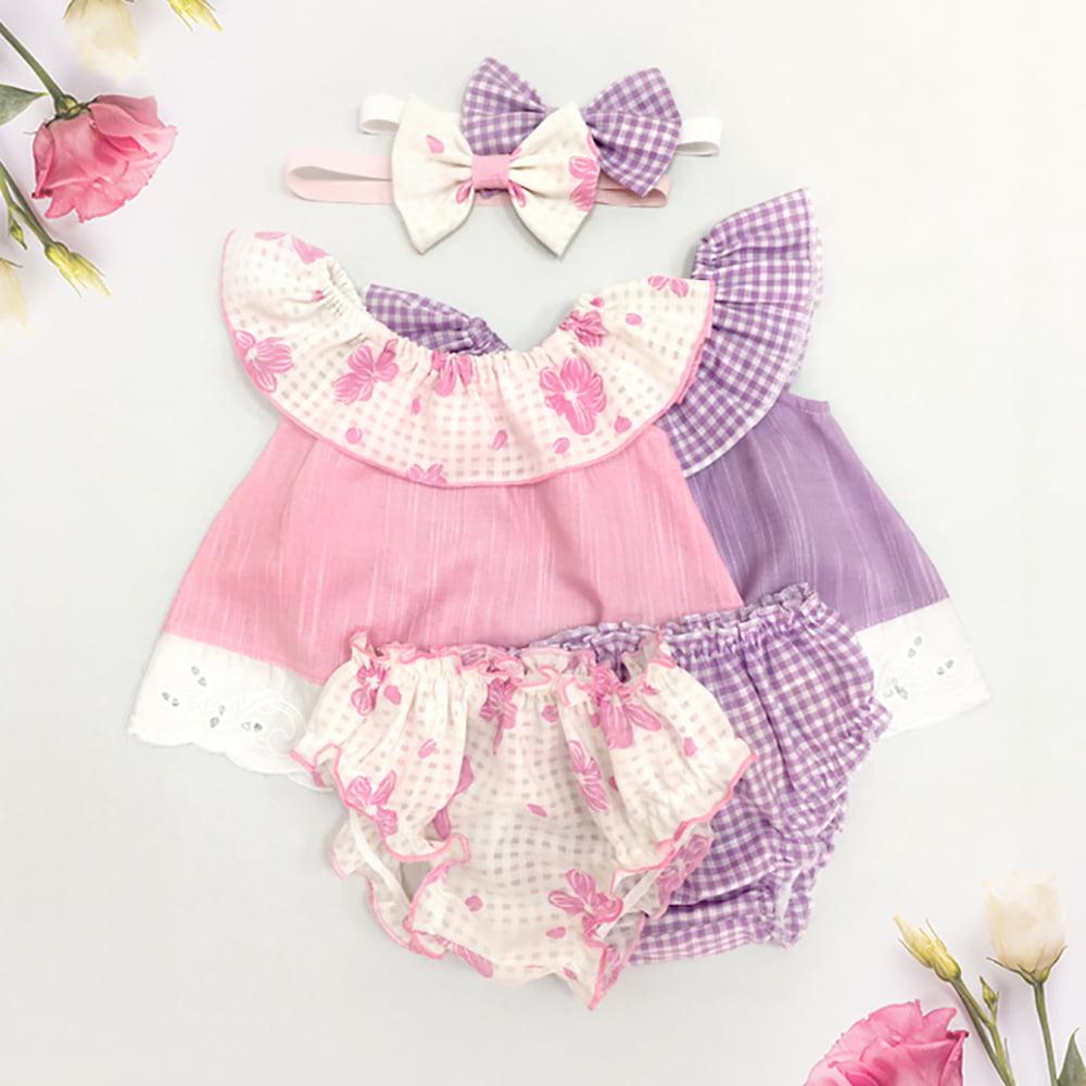 Rozi i ljubičasti romper set za bebe