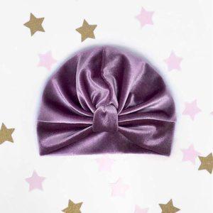 ljubičasti velvet surinami turban kapa za djecu i odrasle