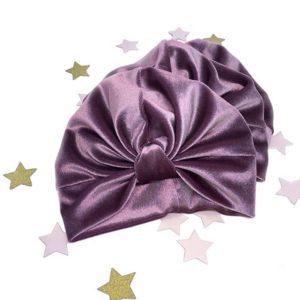 ljubičasti plišani velvet turban za djevojčice, bebe i mame