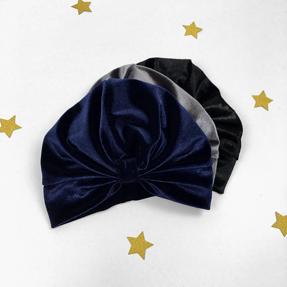Tamno plavi velevet turban za djecu i odrasle