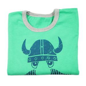 dječja majica s printom sivo zelena