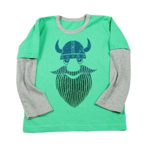Viking zeleno siva majica s printom