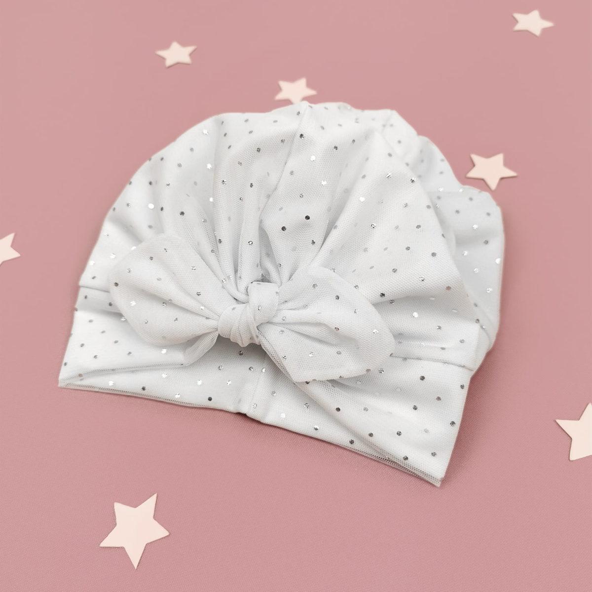 bijela kapa za bebe Sparkle mašna turban