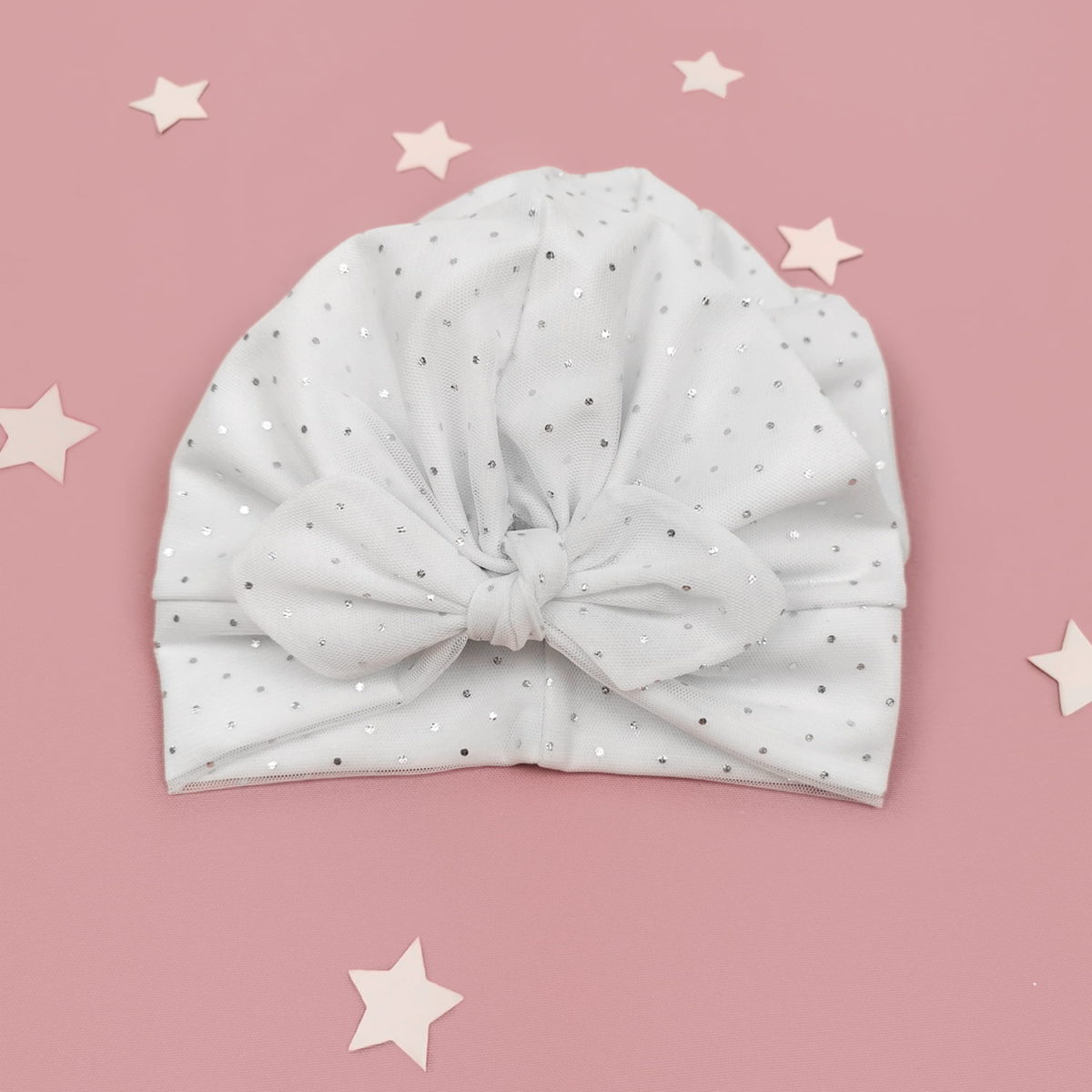 Sparkle mašna turban bijela kapa za bebe i djevojčice