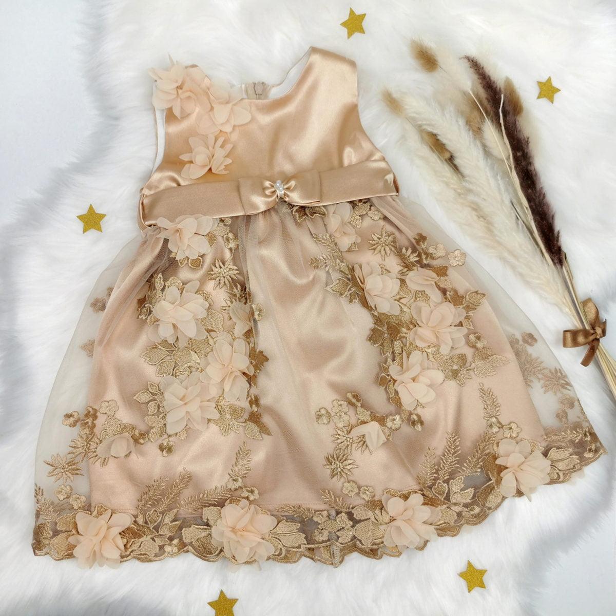 zlatna magolia komplet haljina i trakica